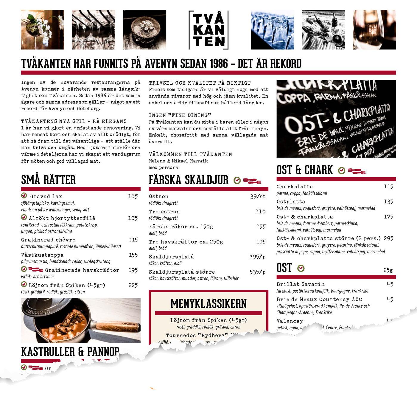 Restaurang Tvåkanten meny
